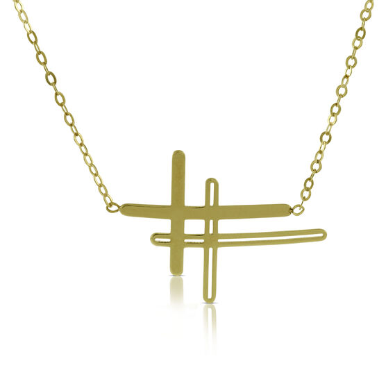 Double Stacked Sideways Cross Necklace 14K