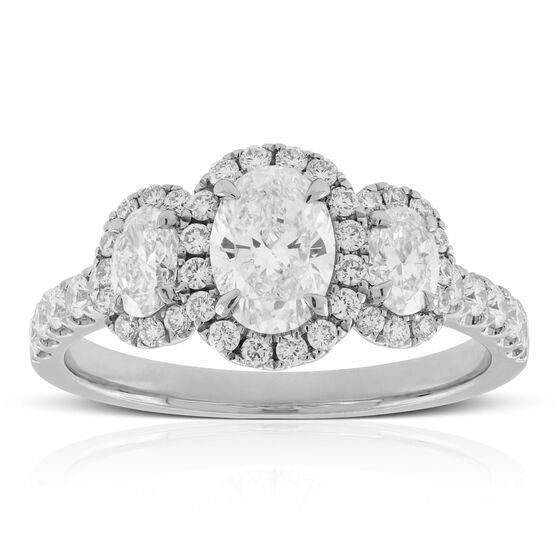 Oval Cut 3-Stone Diamond Halo Engagement Ring 14K