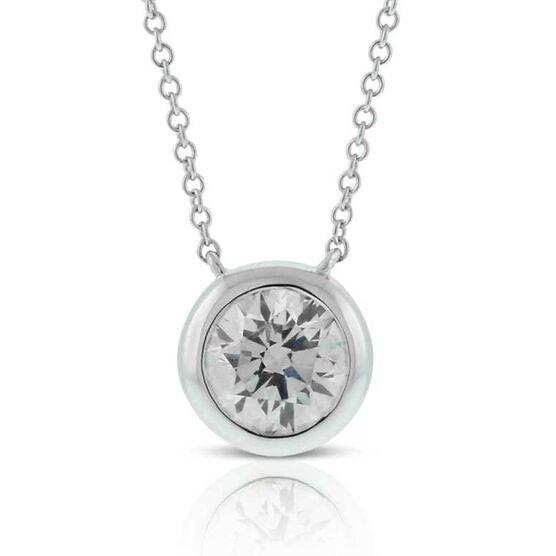Bezel Set Diamond Necklace 14K, 1 ctw.