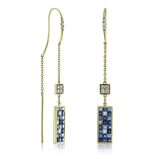 Mosaic Sapphire & Diamond Earrings 14K