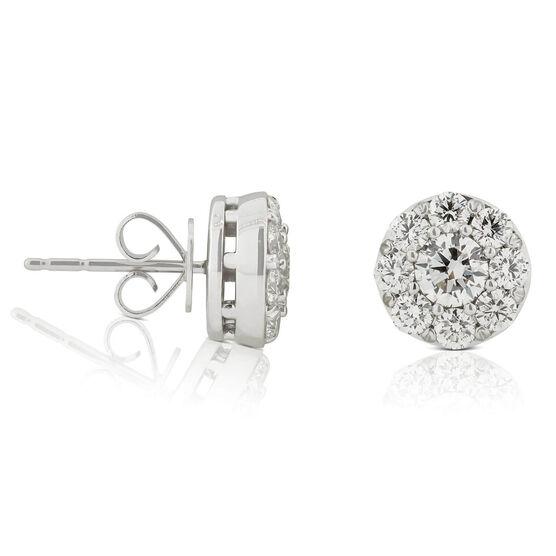 Diamond Cluster Halo Stud Earrings 14K