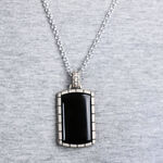 Onyx Dog Tag Pendant in Sterling Silver