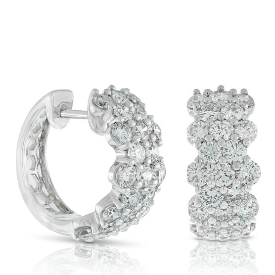 Cluster Diamond Hoop Earrings 14K