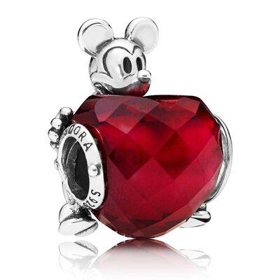 PANDORA Disney, Mickey Love Heart Crystal Charm