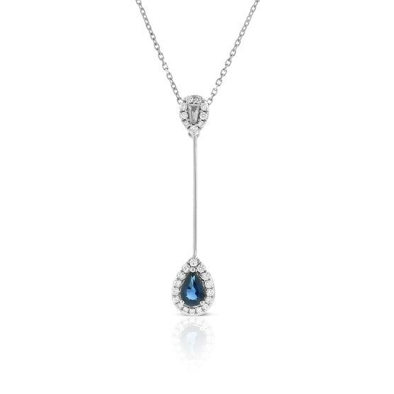 Sapphire & Diamond Pear Drop Necklace 14K