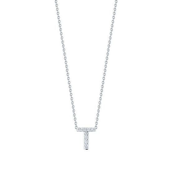 Roberto Coin Tiny Treasures Diamond Initial Pendant 18K Letter 'T'