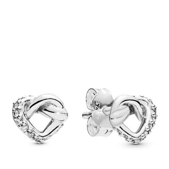 Pandora Knotted Heart Stud CZ Earrings