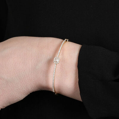 Emerald Cut Forevermark Diamond Bangle 18K