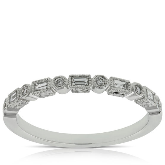 Round & Baguette Diamond Band 14K
