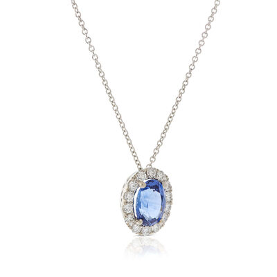 Oval Sapphire & Diamond Halo Necklace 14K