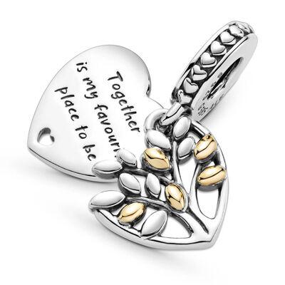 Pandora Two-Tone Family Tree Heart Dangle Charm, 14K & Silver