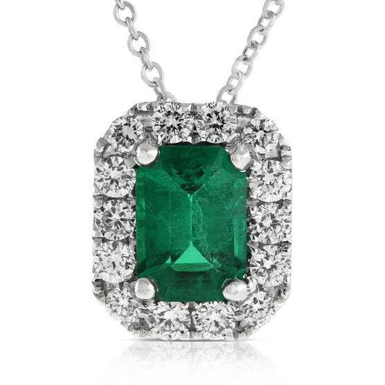 Emerald & Diamond Halo Pendant 14K