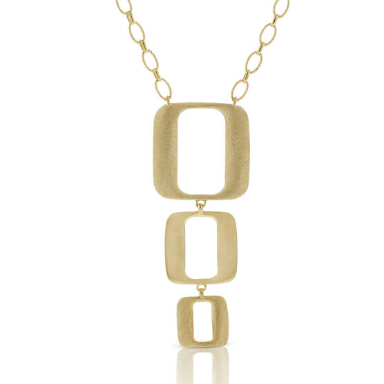 Toscano Triple Open Geometric Drop Necklace 18K