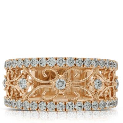 Rose Gold Diamond Floral Band 14K