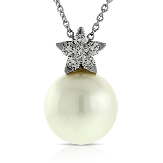 Diamond & Cultured Freshwater Pearl Pendant 14K