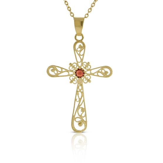 Toscano Garnet Filigree Cross Pendant 14K