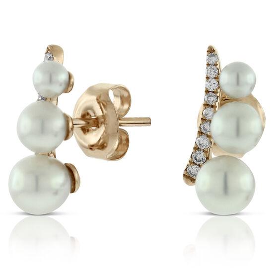 Rose Gold Cultured Pearl & Diamond Earrings 14K