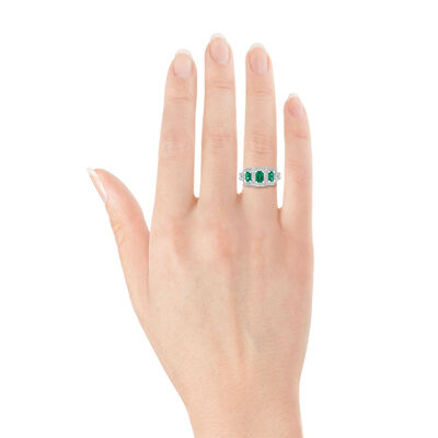 Emerald & Diamond 3-Stone Ring 14K