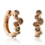Rose Gold Brown Diamond Hoop Earrings 14K