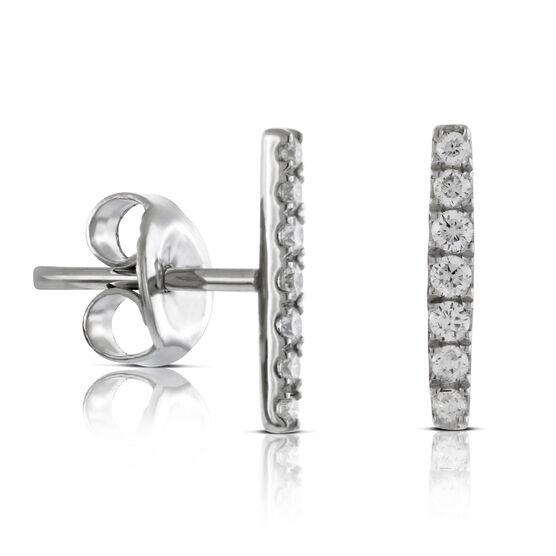 Diamond Bar Stud Earrings 14K