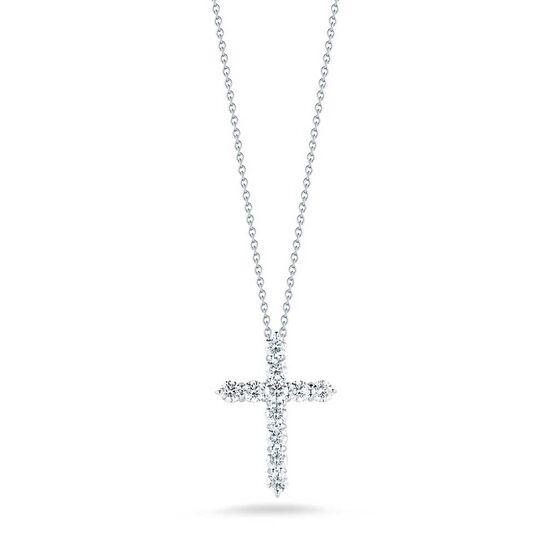 Roberto Coin Tiny Treasures Diamond Cross Necklace 18K