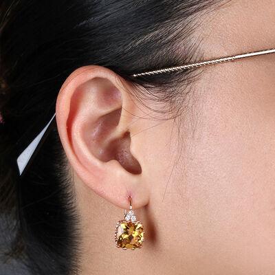Rose Gold Cushion Citrine & Diamond Earrings 14K