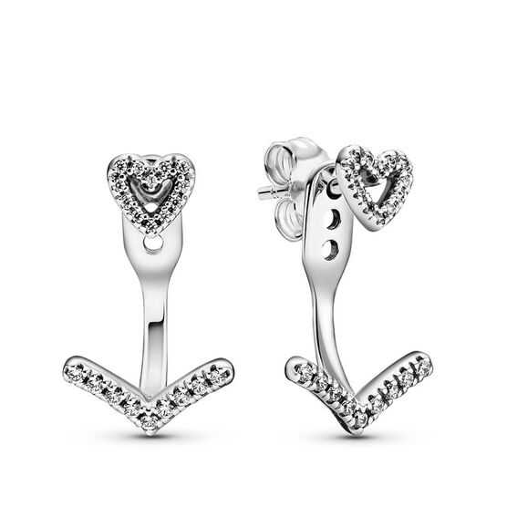 Pandora Sparkling Wishbone Heart CZ Stud Earrings