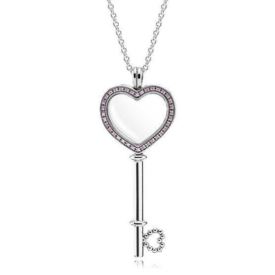 PANDORA Large Floating Locket CZ Heart Key