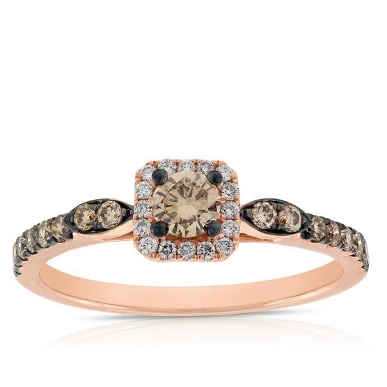 Rose Gold Brown & White Diamond Halo Ring 14K