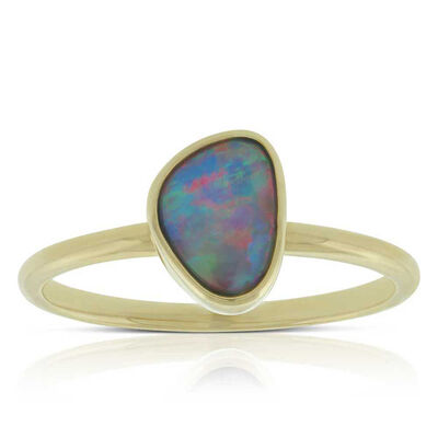 Free-form Opal Doublet Ring 14K