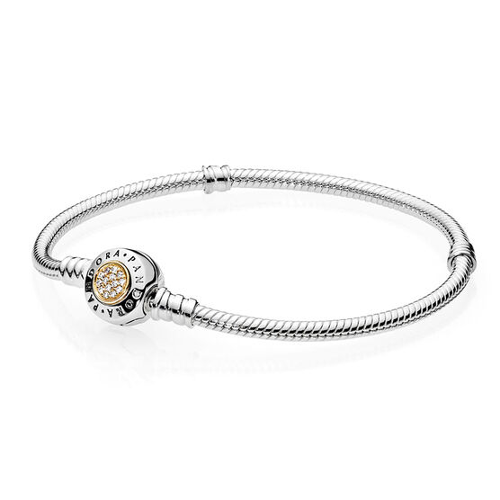 PANDORA Signature CZ Clasp Bracelet, Silver & 14K