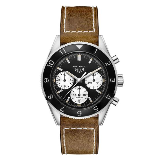 TAG Heuer Heritage Autavia Heuer 02 Automatic Mens Black Leather Chronograph Watch