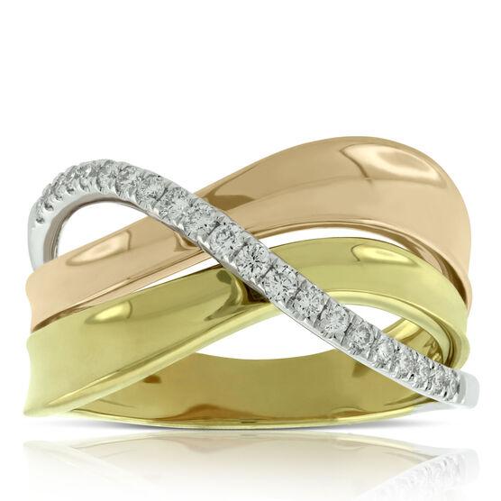 Tri-Color Crossover Diamond Ring 14K