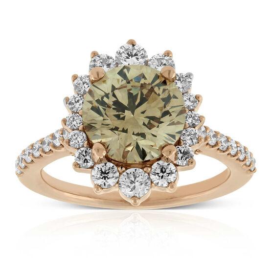 Rose Gold Diamond Ring 18K, Fancy Yellow Brown 3.02 Carat Center