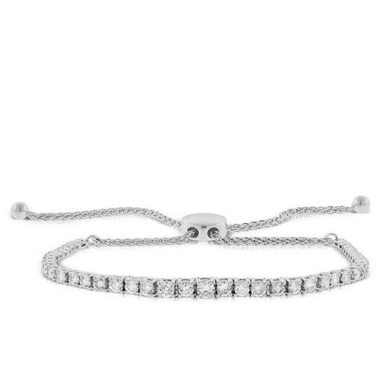 Graduated Diamond Bolo Bracelet 14K
