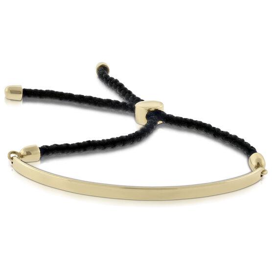 Bolo Bangle Bracelet with Black Cord 14K