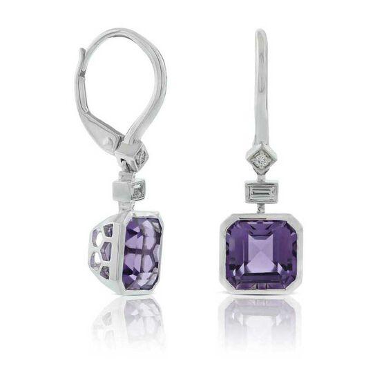 Square Amethyst & Diamond Earrings 14K