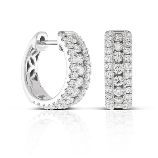 Triple Row Diamond Huggie Hoop Earrings 14K