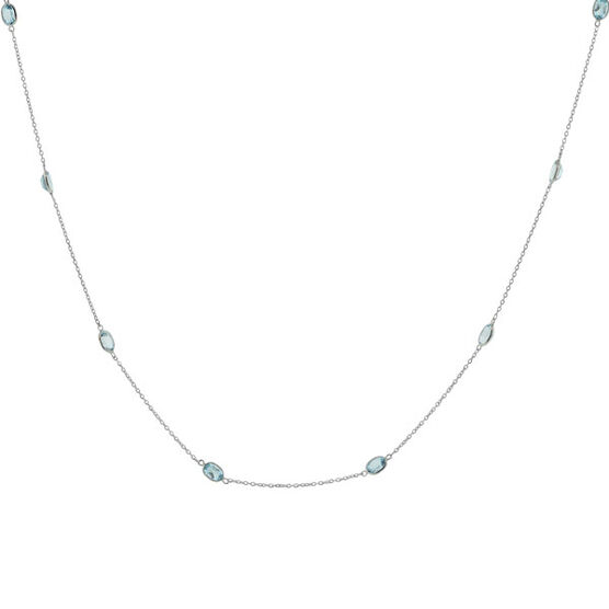 """Blue Topaz Necklace in Sterling Silver, 38"""""""