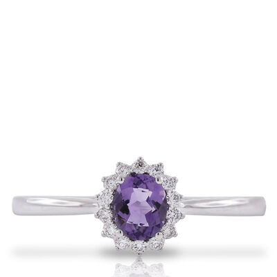 Amethyst & Diamond Halo Ring 14K