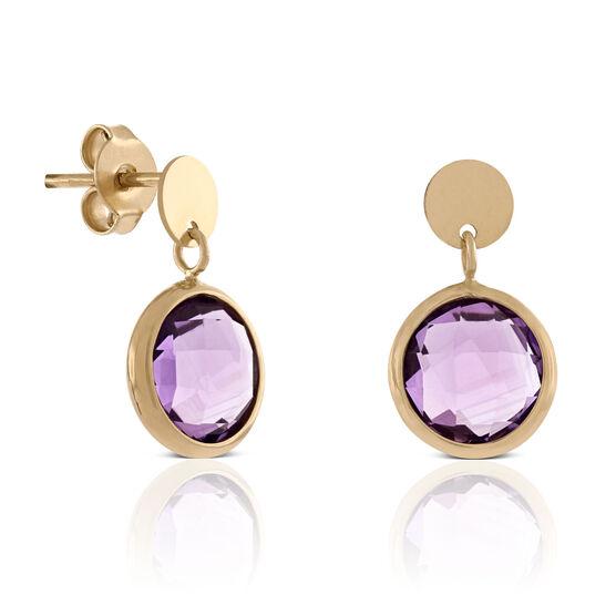 Round Bezel Set Amethyst Earrings 14K