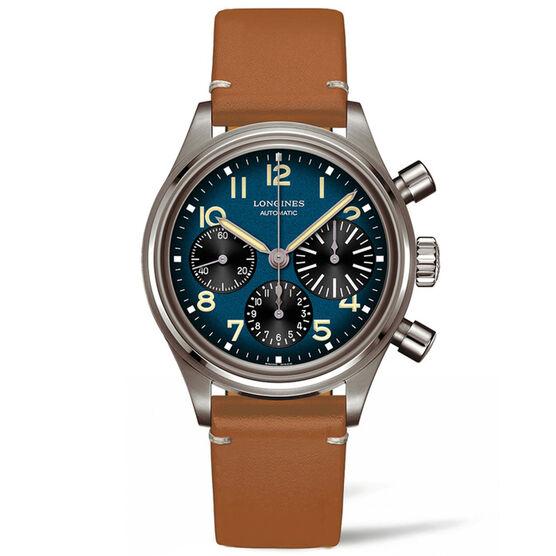 Longines Avigation BigEye Blue Leather Titanium Watch, 41mm