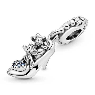Pandora Disney Cinderella Glass Slipper & Mice CZ Dangle Charm