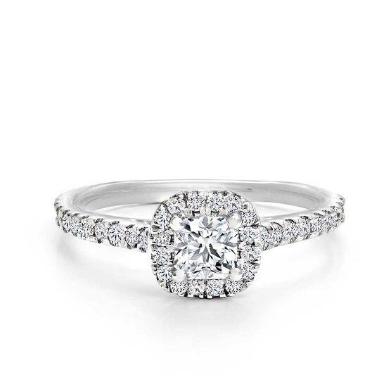 Forevermark Black Label 1/3 ct. Square Cut Halo Diamond Engagement Ring 18K