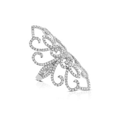 Long Floral Lace Diamond Ring 14K