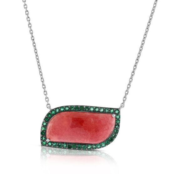 Lisa Bridge Rhodochrosite & Emerald Necklace