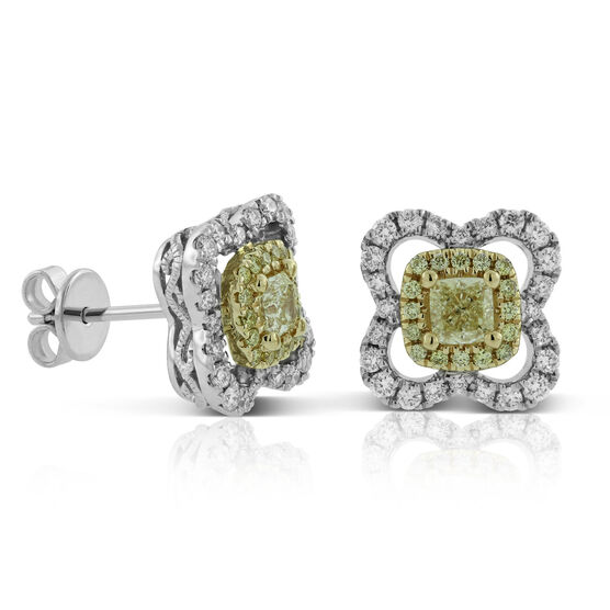 Yellow & White Diamond Earrings 14K