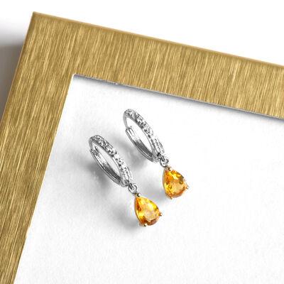 Two-Tone Pear-Shaped Citrine & Diamond Earrings 14K