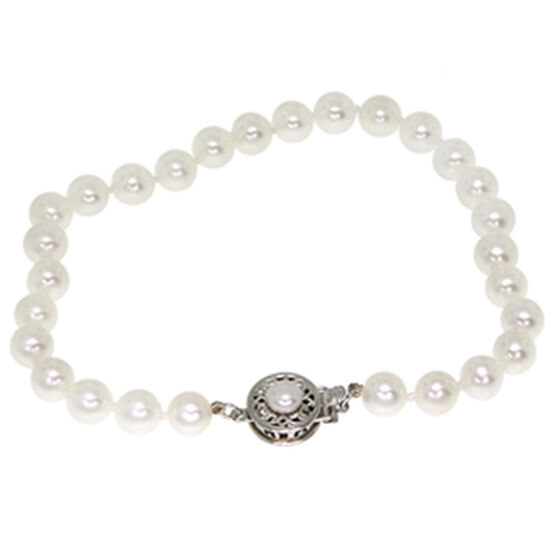 Freshwater Cultured Pearl Tin Cup Bracelet 14K