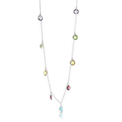 Dangling Multi-Gem Necklace 14K